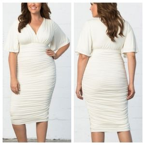 KIYONNA Paloma Ivory V-Neck Ruched Dress - Size 2